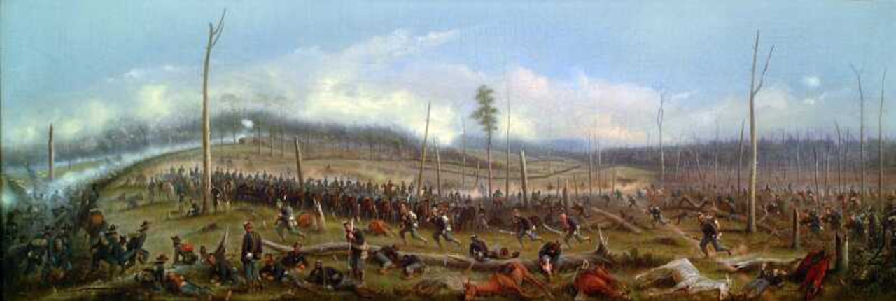 A painting depicts a rolling field littered with bodies, horses and soldiers.