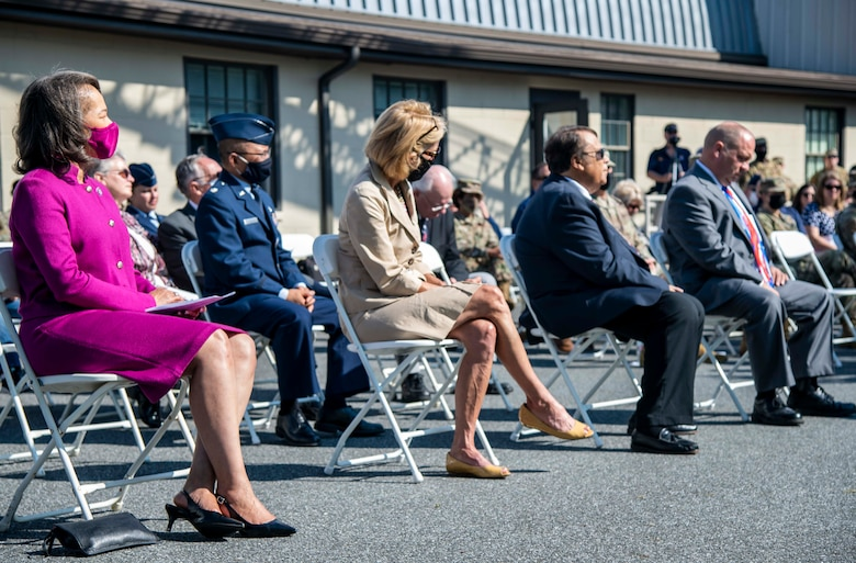 From left, Rep. Lisa Blunt Rochester, Delaware congresswoman, Kate Rohrer, representative for Delaware Senator Chris Coons, Robin Christiansen, City of Dover mayor, and Retired Air Force Reserve Master Sgt. Tyree Bacon, guest speaker, attend the 20th Anniversary 9/11 Remembrance Ceremony held at the Air Mobility Command Museum's 9/11 Memorial on Dover Air Force Base, Delaware, Sept. 11, 2021. The base hosted the ceremony to remember and honor those who perished in the attacks on Sept. 11, 2001. (U.S. Air Force photo by Senior Airman Stephani Barge)