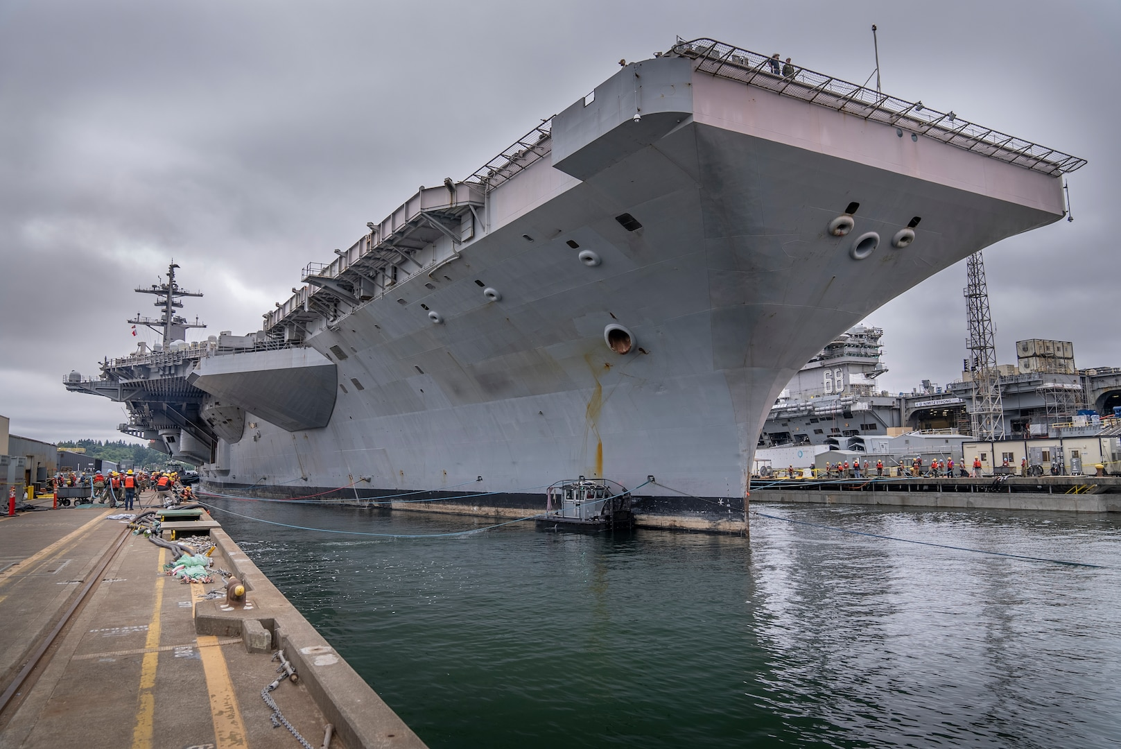 USS Theodore Roosevelt (CVN 71) entered Dry dock 6 at Puget Sound Naval Shipyard & Intermediate Maintenance Facility in Bremerton, Wash., Sept. 10, 2021, to begin the docking portion of a 16.4-month Docking Planned Incremental Availability. (PSNS & IMF photo by Brian Kilpatrick)