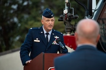 U.S. Air Force Col. Blaine Baker, 97th AMW commander, speaks during the 97th Air Mobility Wing Remembrance Ceremony at Altus Air Force Base, Oklahoma, Sept. 11, 2021. The purpose of the ceremony was to honor the firefighters, law enforcement officers and medical responders who lost their lives on this day 20 years ago during the attacks on 9/11. (U.S. Air Force photo by Senior Airman Amanda Lovelace)