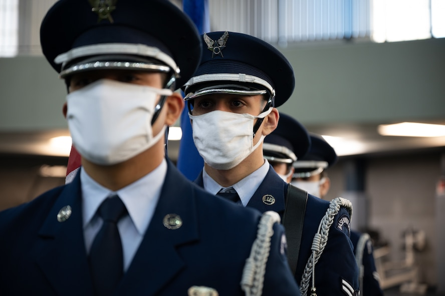 U.S. Air Force ceremonial guardsmen assigned to the 354th Fighter Wing form up during a 9/11 remembrance ceremony on Eielson Air Force Base, Alaska, , Sept. 11, 2021.