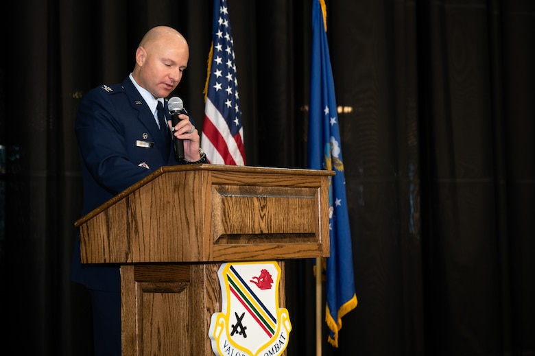 U.S. Air Force Col. David Berkland, the 354th Fighter Wing commander, delivers a speech during a 9/11 remembrance ceremony on Eielson Air Force Base, Alaska, Sept. 11, 2021.