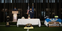 U.S. Airmen assigned to the 354th Fighter Wing hold a 9/11 remembrance ceremony on Eielson Air Force Base, Alaska, Sept. 11, 2021.