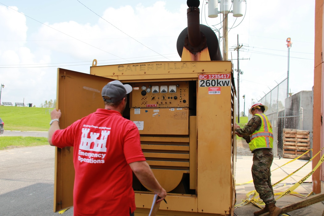 Capt. Aaron Miley and Michael Maaninen, both from Honolulu District, support the Federal Emergency Management Agency (FEMA) assigned Temporary Emergency Power Mission as part of the U.S. Army Corps of Engineers Hurricane Recovery mission in southeastern Louisiana.