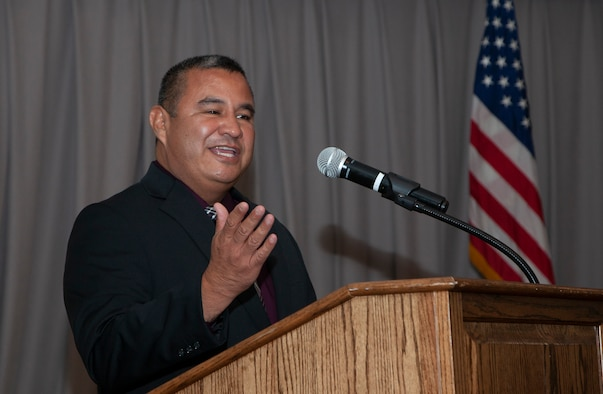 Former Army Staff Sgt. Andrew Ramirez recounts his time as a prisoner of war in 1999 during a POW/MIA Remembrance Ceremony and dinner at Edwards Air Force Base, California, Sept. 10. Ramirez and two other Soldiers from his unit spent 32 days in captivity during Operation Allied Force in Kosovo in 1999. (Air Force photo by Clay Cupit)