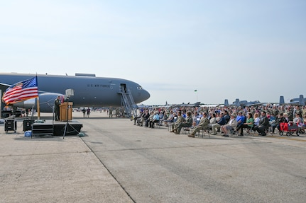 The 157th Air Refueling Wing names their 12 new KC-46 aircraft in honor of the 10 counties of New Hampshire and the two towns adjacent to the base, at Pease Air National Guard Base, New Hampshire, Sept. 12, 2021.