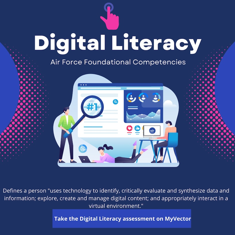 """This Air Force Foundational Competencies Digital Literacy graphic defines digital literacy as a person who """"uses technology to identify, critically evaluate and synthesize data and information; explore, create and manage digital content; and appropriately interact in a virtual environment"""" according to Dr. Laura Barron, industrial/organizational psychologist."""