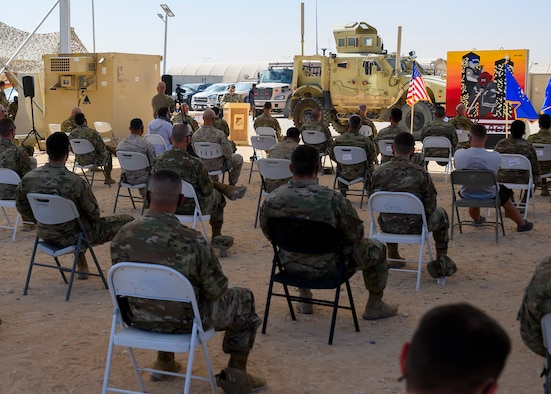 Members of the 378th Air Expeditionary Wing gather for a Remembrance Ceremony Sept. 11, 2021, at Prince Sultan Air Base, Kingdom of Saudi Arabia.