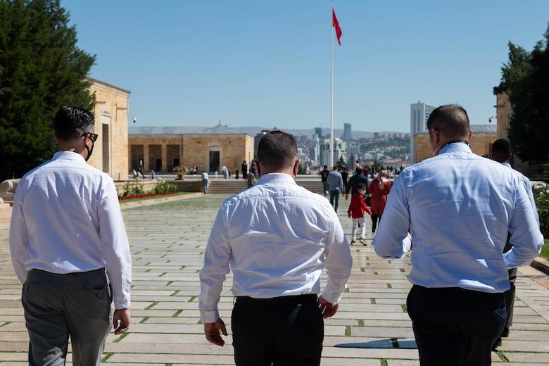 Three officers walking at Ataturk's Mausoleum