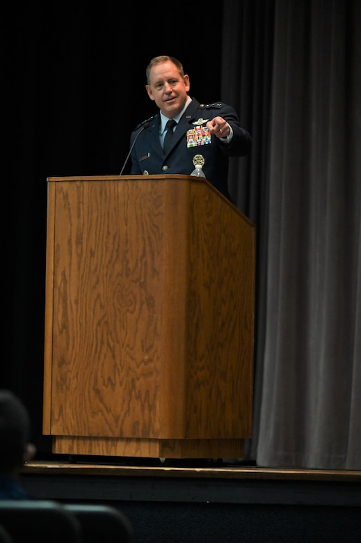 U.S. Air Force Lt. Gen. James Hecker, Air University Commander and President, giving his speech during the graduation ceremony of Specialized Undergraduate Pilot Training Class 21-15, Sept. 10, 2021, on Columbus Air Force Base, Miss. Graduates of SUPT have to complete a demanding 52-week course, comprised of academics, physiological training, and flight training in the T-6A Texan II, T-1A Jayhawk, and T-38C Talon. (U.S. Air Force photo by Senior Airman Jake Jacobsen)