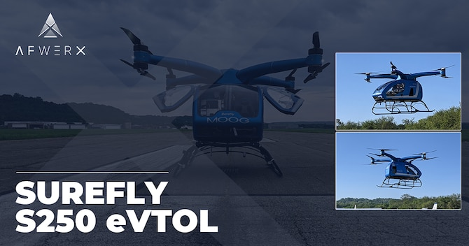 AFWERX Agility Prime Partner, Moog Aircraft Group, has created a prototype electric vertical takeoff and landing vehicle (eVTOL), the SureFly S250. (Courtesy graphic/AFWERX)