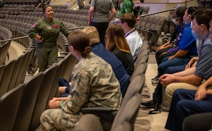 U.S. Air Force Maj. Stephanie Chayrez, 56th Fighter Wing Diversity & Inclusion team chief, speaks about her job as the 63rd Fighter Squadron Human Performance team chief Aug. 2, 2021, at the GO Inspire event at Shadow Mountain High School in Phoenix, Arizona.
