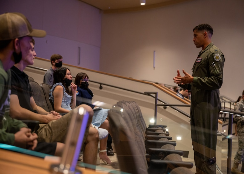 U.S. Air Force Lt. Col. William Wisehart, 63rd Fighter Squadron reserves assistant director of operations, speaks about his career Aug. 2, 2021, at the GO Inspire event at Shadow Mountain High School in Phoenix, Arizona.