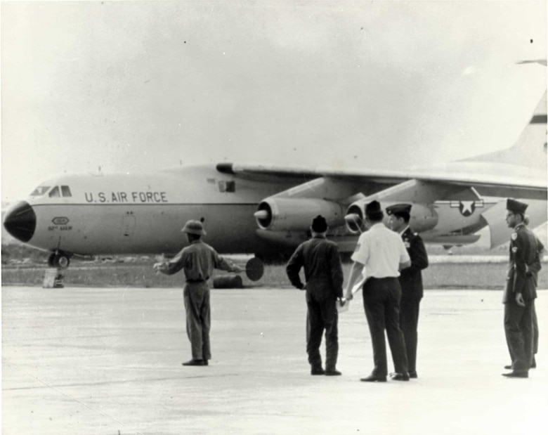 A C-141 Starlifter from the 62 Military Airlift Wing lands at Hanoi to pick up American POWs.