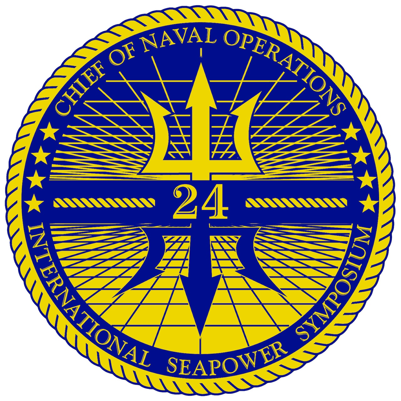 """A graphic shows a gold 24 and a blue and gold mirrored trident surrounded by globe-like lines and words that read """"Chief of Naval Operations"""" and """"International Seapower Symposium"""" surrounded by a gold rope."""