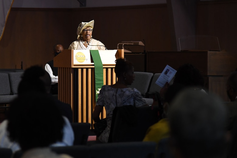 """Florence Clay, Gospel Worship Service member, delivers remarks during the 50th Gospel Worship Service Anniversary inside Larcher Chapel at Keesler Air Force Base, Mississippi, Sept. 12, 2021. The service's theme was """"Growing Stronger, Growing Deeper, Reaching Higher."""" (U.S. Air Force photo by Kemberly Groue)"""