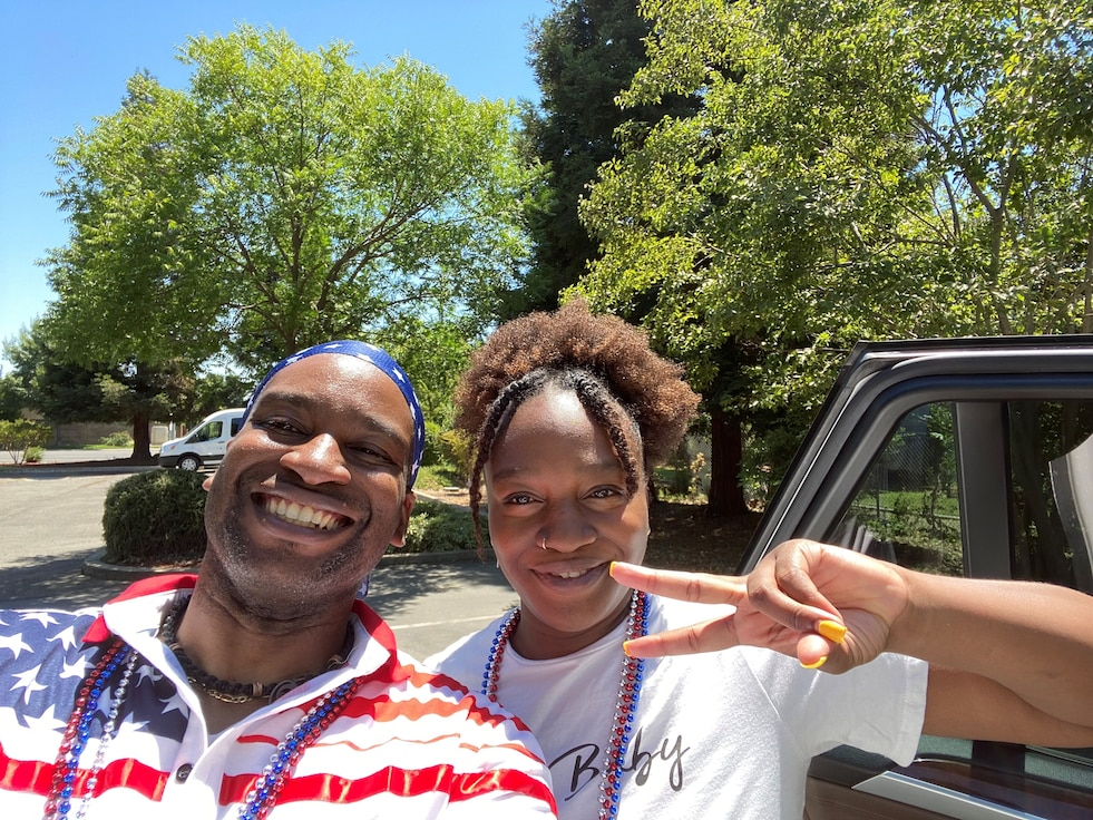 Tech. Sgt. Kenneth Johnson, 9th Force Support Squadron community programming and partnership office non-commissioned officer in charge, and his sister, Janay, pose for a photo July 4, 2021, at Johnson's church.