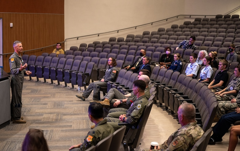Brig. Gen. Gregory Kreuder, 56th Fighter Wing commander, speaks to a group of Junior ROTC students Aug. 2, 2021, at the GO Inspire event at Shadow Mountain High School in Phoenix, Arizona.