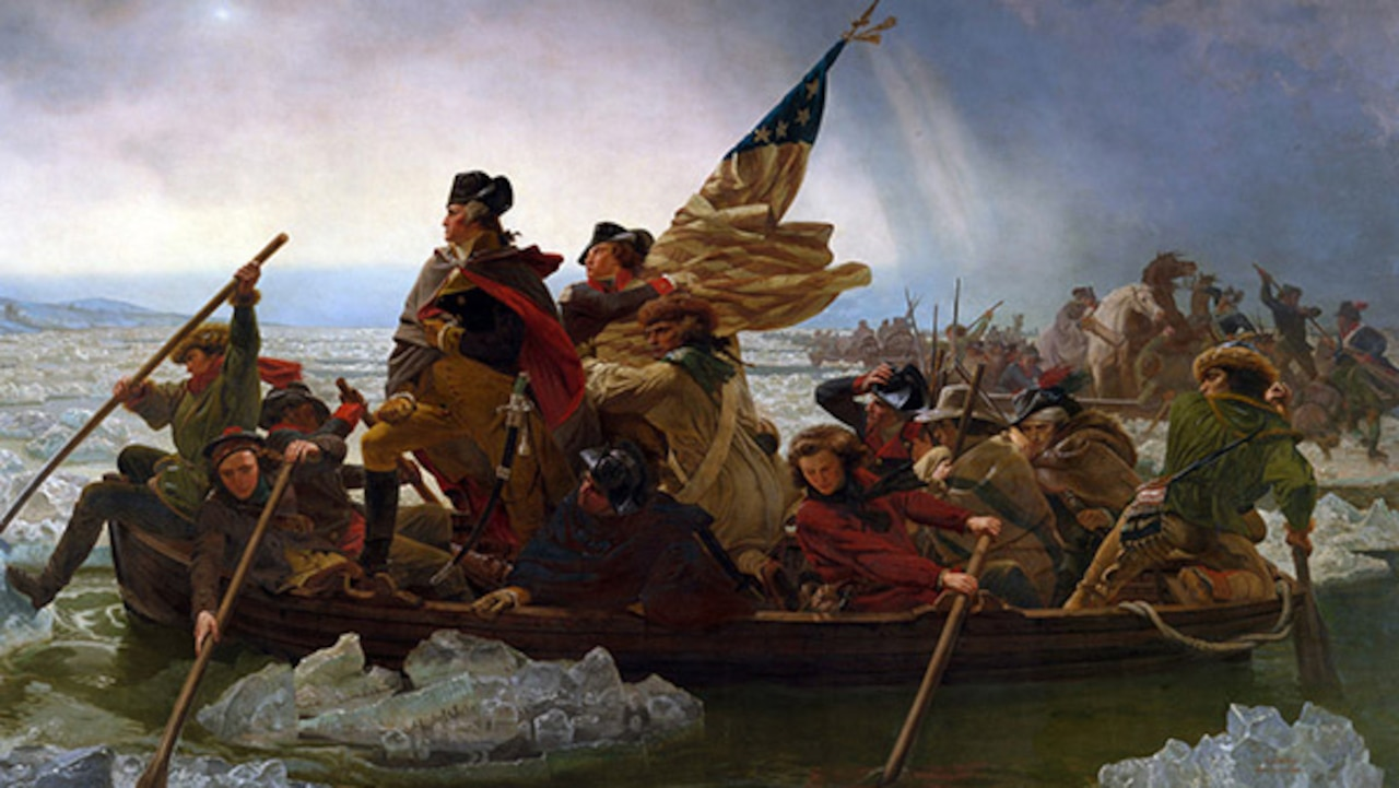Painting of George Washington and troops steering a boat.