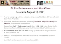A flyer for the Fit For Performance Nutrition Class