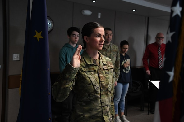 The 168th Wing gained a new Chaplain, 2nd Lt. Jennifer Pottinger, after serving as an Aerial Porter and Religious Affairs Airman since 2008. (U.S. Air National Guard photo by Senior Master Sgt. Julie Avey)