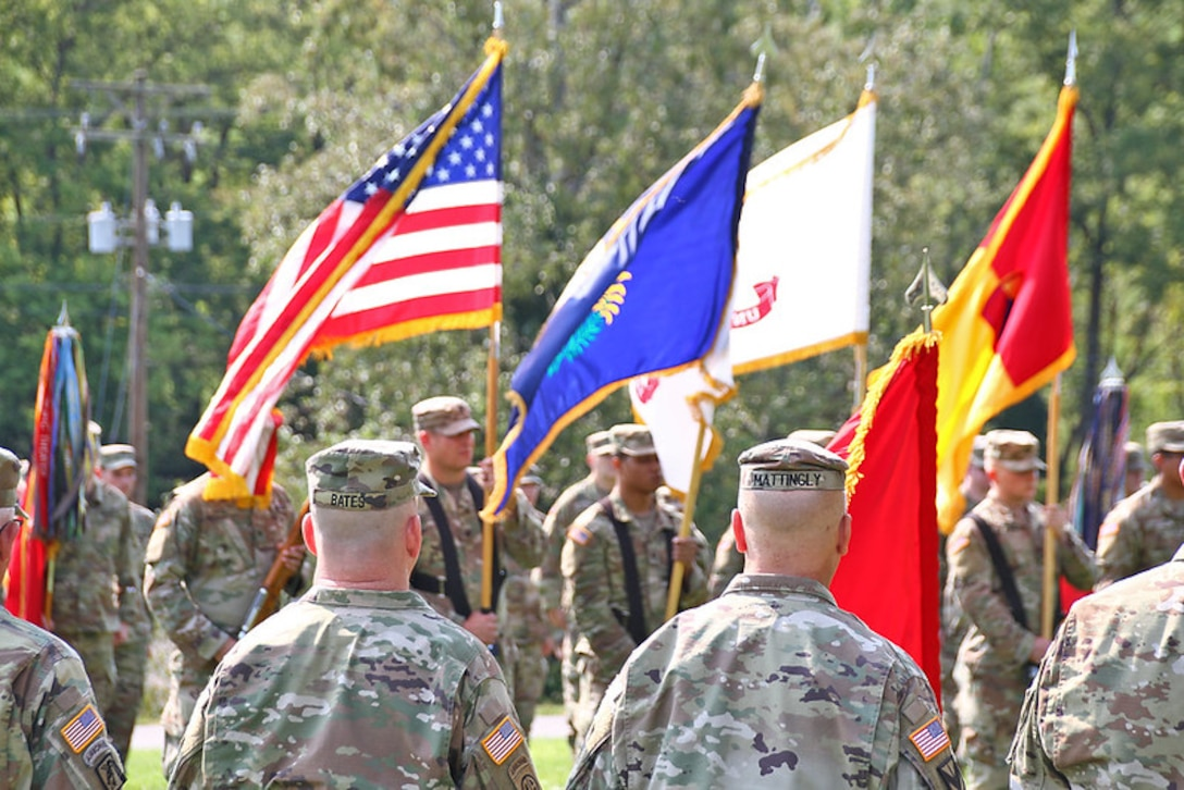 Lt. Col. Steve Mattingly, incoming commander of the 138th Field Artillery Brigade speaks during a change of command ceremony in Lexington, Ky., Sept. 12, 2021. (U.S. Army National Guard photo by Sgt. 1st Class Scott Raymond)