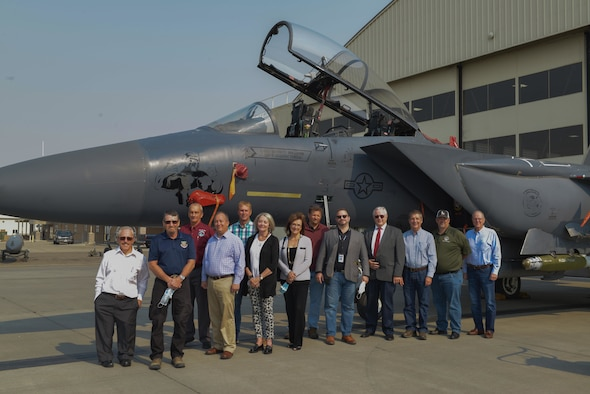 The Treasure Valley Partnership pose for a group photo in front of the F-15E Static Display Sept. 9, 2021, on Mountain Home Air Force Base, ID. The F-15E Strike Eagle is a dual-role fighter designed to perform air-to-air and air-to-ground missions. With the capability to fight at low altitude, day or night and in all weather.