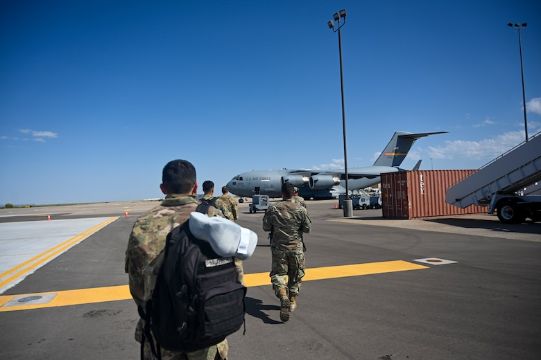 Airmen supporting exercise agile combat employment reaper from Holloman Air Force Base board a C-17 Sept. 8, 2021, Holloman AFB, New Mexico.