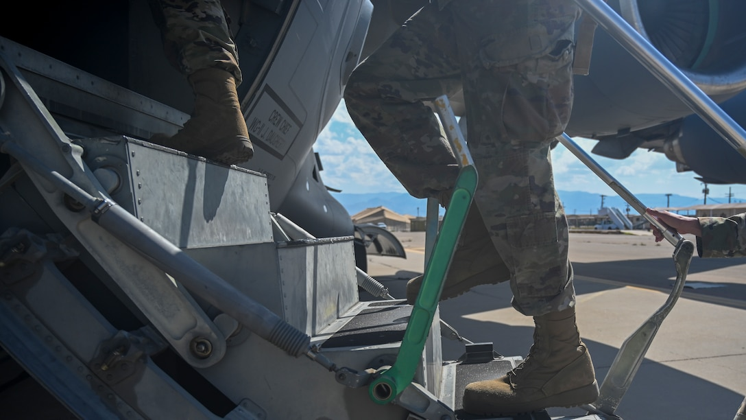 Airmen supporting exercise agile combat employment reaper from Holloman Air Force Base board a C-17 Globemaster III Sept. 8, 2021, Holloman AFB, New Mexico.