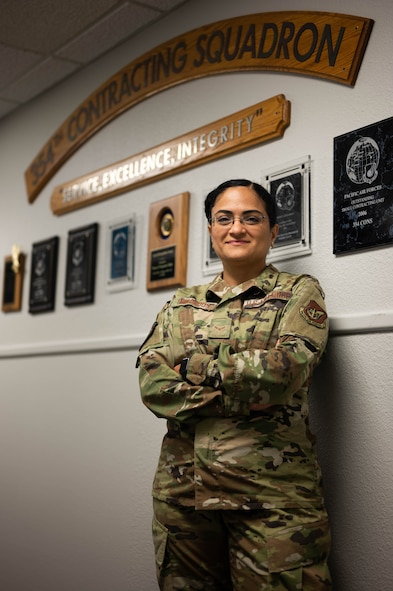 U.S. Air Force Airman 1st Class Helbees Tawadrous, a 354th Contracting Squadron contracting specialist, poses for a photo on Eielson Air Force Base, Alaska, Aug. 10, 2021.