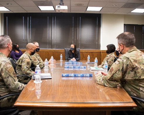 Under Secretary of the Air Force, Gina Ortiz Jones leads a discussion with wing leaders about the mandatory COVID vaccination efforts, Sept. 11, 2021, at Joint Base Andrews, Md. The USecAF wants to determine any limiting factors in the execution of the timeline, concerns voiced from members of the units, use of medical or religious exemptions, and best practices of communicating the safety and effectiveness of the vaccine, and show support for the units overall readiness efforts. (U.S. Air Force photo by Staff Sgt. Cierra Presentado/Released)