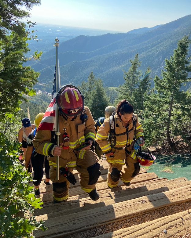 On the 20th Anniversary of 9/11, firefighters climbed up the Manitou Incline.