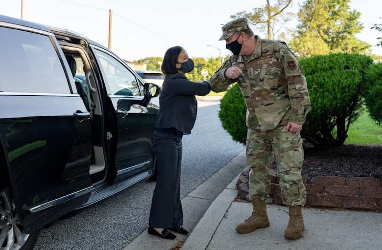 Under Secretary of the Air Force Gina Ortiz Jones greets Lt. Gen. Richard Scobee, Chief of the Air Force Reserve and Commander, Air Force Reserve Command, as she prepares for a meeting with 459th ARW Reservists, Sept. 11, 2021, at Joint Base Andrews, Md. The USecAF traveled to Joint Base Andrews to meet with wing leaders to discuss mandatory COVID vaccination efforts. (U.S. Air Force photo by Tech Sgt. Brent Skeen/Released)