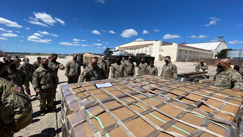 Army South personnel learn pallet loading and securing at Kelly Air Force Base Sept. 14 as part of the Army South Contingency Command Post during a level II deployment readiness exercise. At any time, an incident could occur in the U.S. Southern Command area of responsibility, which requires the deployment of the ARSOUTH CCP to provide a command and control node or to form the nucleus of a joint task force when directed. Readiness is Army South's first priority – ensuring that our Soldiers have the tools and training they need to be lethal and ready to fight and win when called upon in support of global operations.
