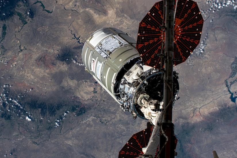 A vessel flies in space.