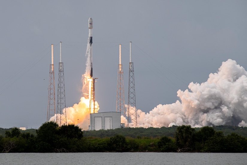 A rocket launches.