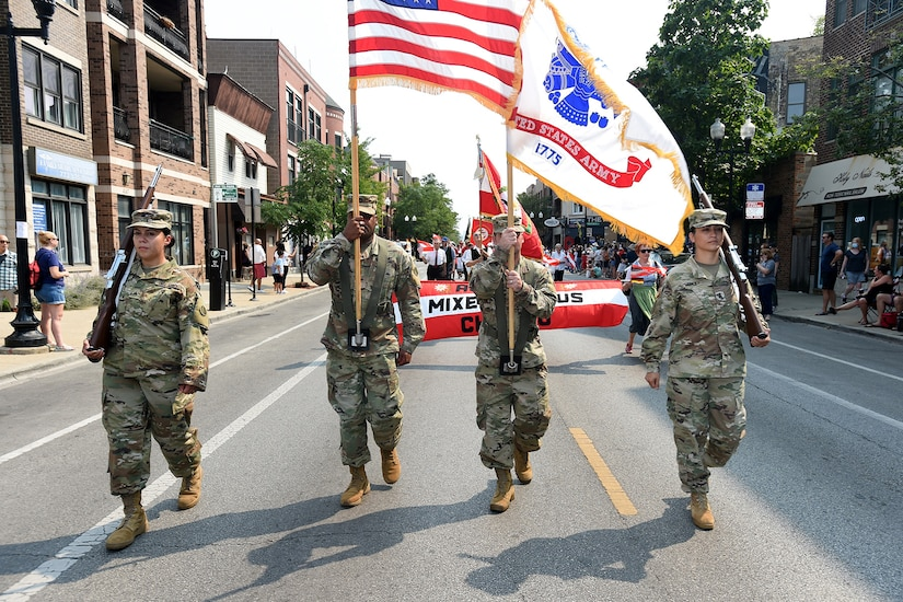 The 85th U.S. Army Reserve Support Command color guard team marches in Chicago's 55th annual Steuben Parade, September 11, 2021.