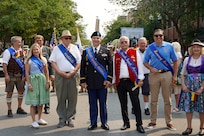 Chicago's 55th Annual Steuben Parade honors Maj. Scott D. Hager, company commander for the Headquarters and Headquarters Company, 85th USARSC, as the honorary parade Grand Marshall during Saturday's parade, September 11, 2021.