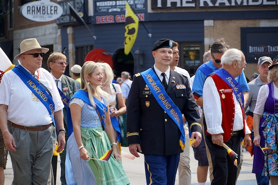 Chicago's 55th Annual Steuben Parade honors Maj. Scott D. Hager, company commander for the Headquarters and Headquarters Company, 85th USARSC, as the honorary parade Grand Marshall during the Saturday parade September 11, 2021.