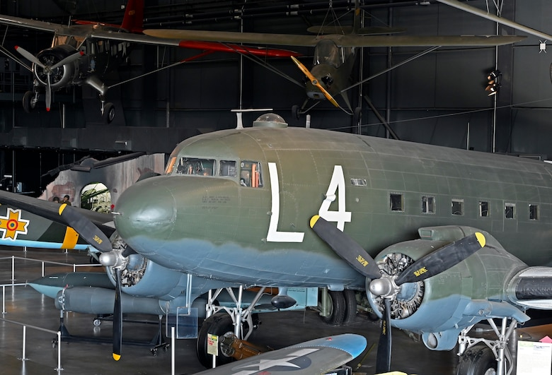 Douglas C-47D Skytrain in the World War II Gallery of the National Museum of the U.S. Air Force.