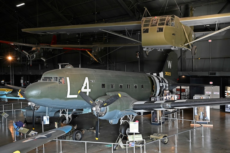 Douglas C-47D Skytrain and Waco CG-4A glider in the World War II Gallery of the National Museum of the U.S. Air Force.