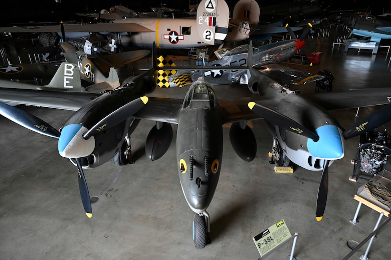 Lockheed P-38L Lightning on display in the World War II Gallery of the National Museum of the U.S. Air Force.