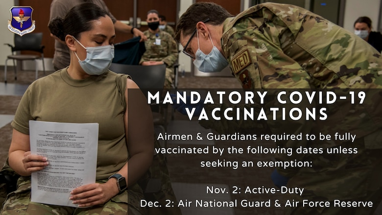 """Graphic of of medical Airmen administering a COVID-19 vaccine to a Airmen. Also includes the title """"AETC on path to complete mandatory COVID-19 vaccinations"""" with the deadline being Nov.2 for active duty personnel"""
