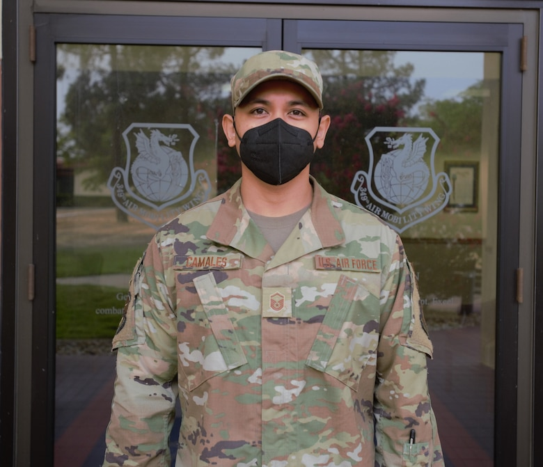 MSgt. Alexander Camales, 349th  AMXS aircraft maintainer, relied on self aid and buddy care training to help save a life.