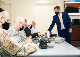 """David Black, co-founder and CEO of Even Health, provides training of his company's """"The Third Room"""" platform to chaplains at Edwards Air Force Base, California, Sept. 10. The Third Room is a software platform that allows Airmen and civilians to interface with chaplains in a remote and even anonymous manner. The program is being tested at Edwards AFB as part of AFWERX's Small Business Innovation Research (SBIR) program. (Air Force photo by Katherine Franco)"""