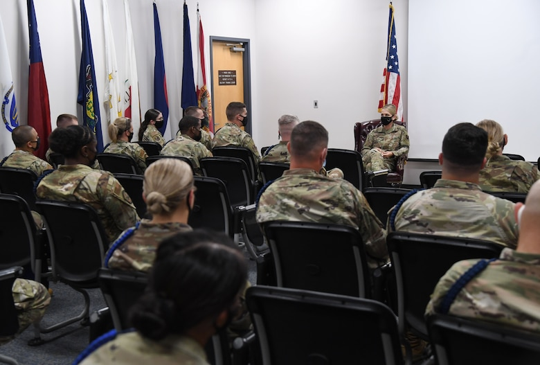 U.S. Air Force Maj. Gen. Michele Edmondson, Second Air Force commander, participates in a sensing session with military training leaders during an immersion tour inside the Levitow Training Support Facility at Keesler Air Force Base, Missisippi, Sept. 13, 2021. Edmondson offered an open discussion forum to the MTLs so that she could learn ways of improvements moving forward. (U.S. Air Force photo by Kemberly Groue)