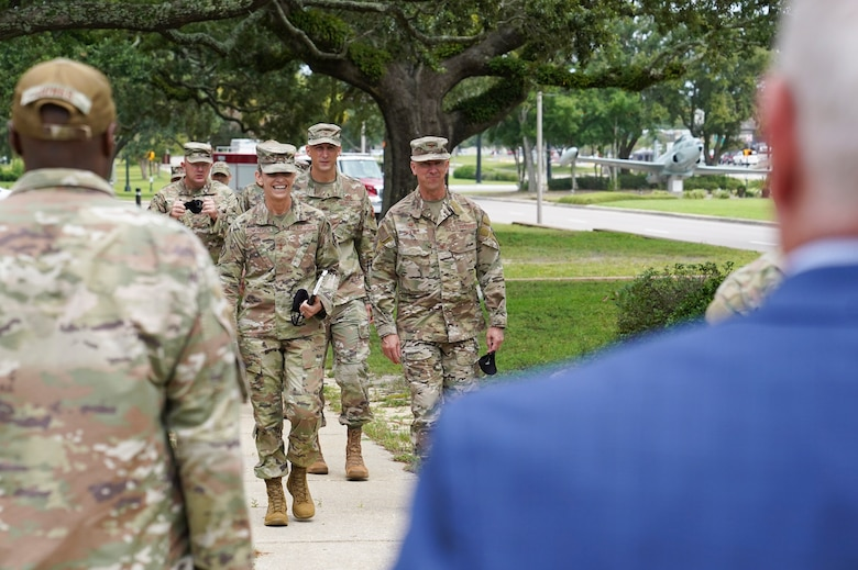 U.S. Air Force Michele C. Edmondson, Second Air Force commander, and Col. William Hunter, 81st Training Wing commander, greet Keesler personnel during an immersion tour at Keesler Air Force Base, Missisippi, September 13, 2021. Edmondson visited the 81st Medical Group, the 81st Security Forces Squadron, the Sablich Center and more as part of her tour of the 81st Training Wing. (U.S. Air Force photo by Senior Airman Spencer Tobler)