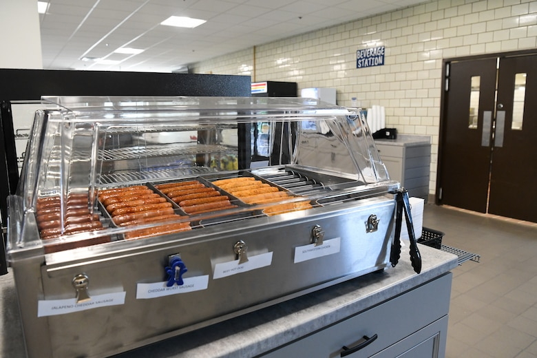 As part of the renovation of Café 100 in Building 100 at Arnold Air Force Base, Tenn., grab-and-go items were added, such as hot dogs. The dining facility reopened with a select portion of the menu Sept. 9, 2021. (U.S. Air Force photo by Jill Pickett)