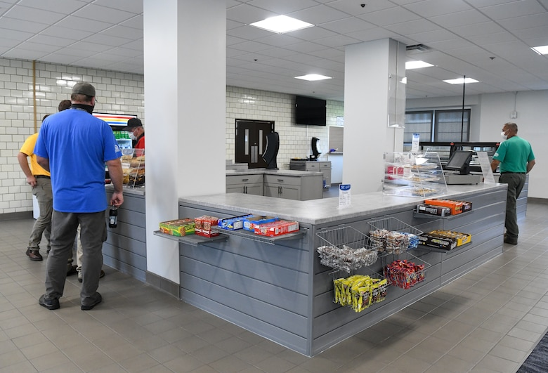 During a months-long closure of Café 100, the dining facility was renovated and the layout changed to allow more grab-and-go items to reduce wait times for customers. Café 100 reopened Sept. 9, 2021. (U.S. Air Force photo by Jill Pickett)