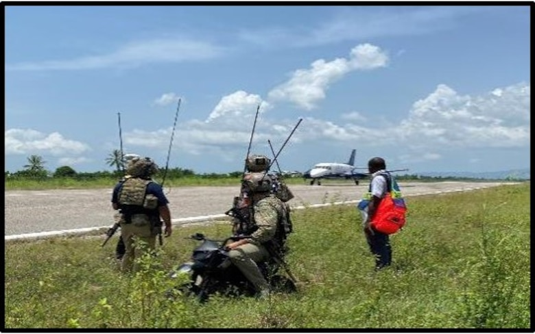 U.S. Air Force Special Tactics operators conduct a proof of concept landing with a C-146A Wolfhound, assigned to the 492nd Special Operations Wing, in a remote airfield in the western part of Haiti to determine the airfield's suitability to receive additional humanitarian aid supplies via fixed wing aircraft.